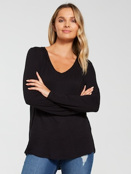 Long Sleeve V Neck Viscose Top