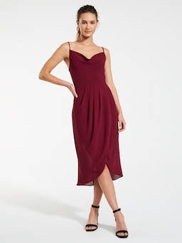 Cowl Neck Charming Midi Dress
