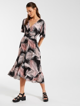 Short Sleeve High Low Midi Dress