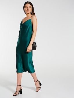 Cowl Neck Slip Midi Dress