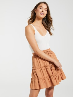 Linen Blend Cancun Mini Skirt