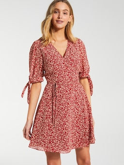 Rita Short Sleeve Wrap Mini Dress