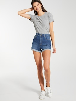 Asha Mom Denim Short