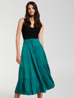 Ibiza Satin Tiered Maxi Skirt