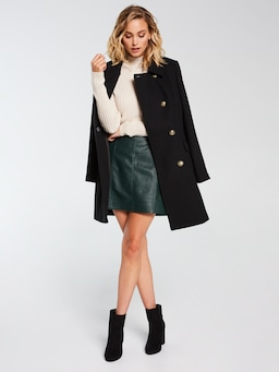 Panelled Faux Leather Mini Skirt