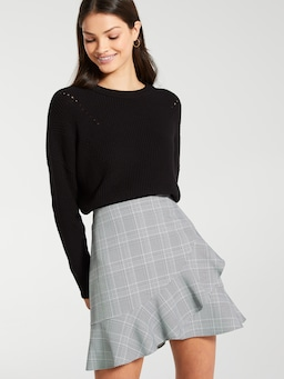 Check Ruffle Mini Skirt