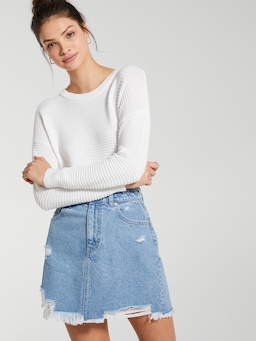 Tori Destroyed Denim Mini Skirt
