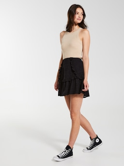 Broderie Ruffle Mini Skirt