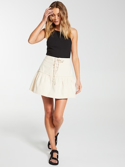 Lace Up Canvas Mini Skirt