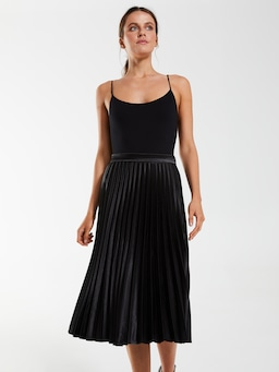Silky Pleated Midi Skirt