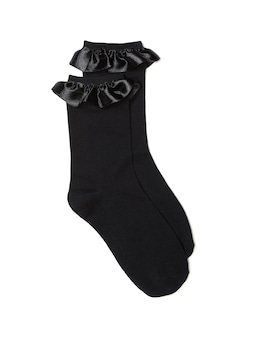 Organza Trim Crew Sock