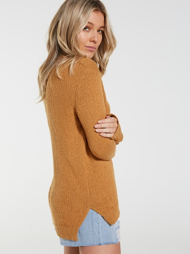 Raw Neck Slouch Oversized Knit