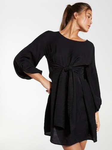 Hannah Puff Tie Front Dress