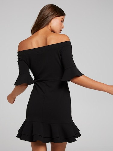 I Love The Nightlife Off The Shoulder Dress